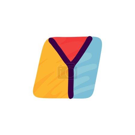 Logo lettre Y en papier pour enfants applique style. Parfait pour l'identité mignonne, drôle de paquet d'artisanat, affiche de vacances, etc. .