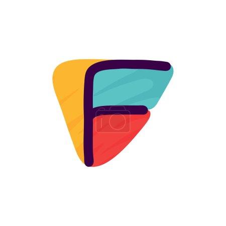 F lettre logo en papier pour enfants applique style. Parfait pour l'identité mignonne, drôle de paquet d'artisanat, affiche de vacances, etc. .