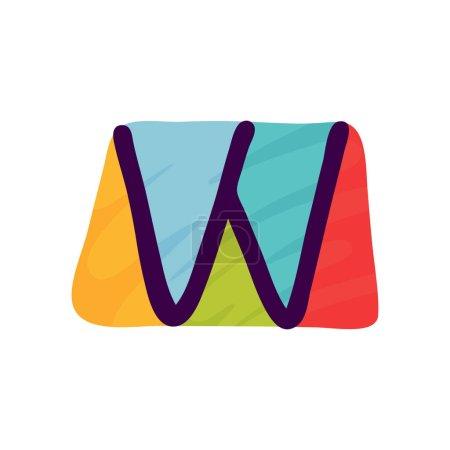 W lettre logo en papier pour enfants applique style. Parfait pour l'identité mignonne, drôle de paquet d'artisanat, affiche de vacances, etc. .