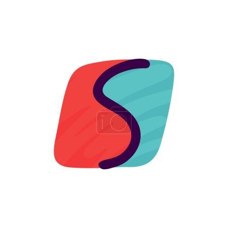 S lettre logo en papier pour enfants applique style. Parfait pour l'identité mignonne, drôle de paquet d'artisanat, affiche de vacances, etc. .