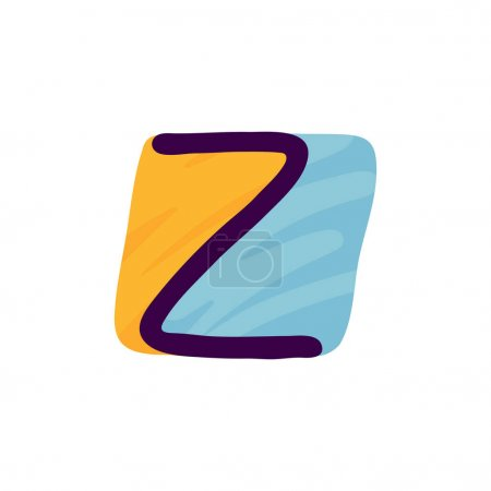 Logo lettre Z en papier pour enfants applique style. Parfait pour l'identité mignonne, drôle de paquet d'artisanat, affiche de vacances, etc. .