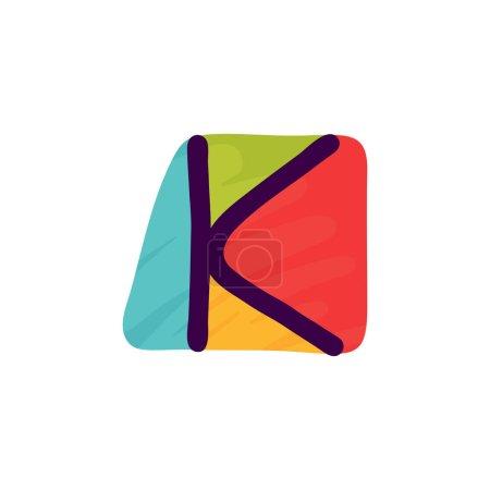 K lettre logo en papier pour enfants applique style. Parfait pour l'identité mignonne, drôle de paquet d'artisanat, affiche de vacances, etc. .