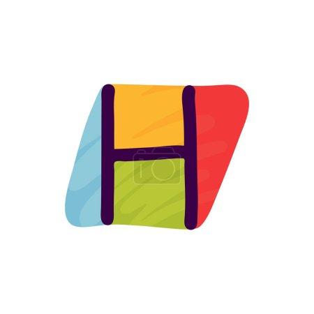 H lettre logo en papier pour enfants applique style. Parfait pour l'identité mignonne, drôle de paquet d'artisanat, affiche de vacances, etc. .