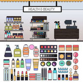 Make up store with cosmetics on the shelves