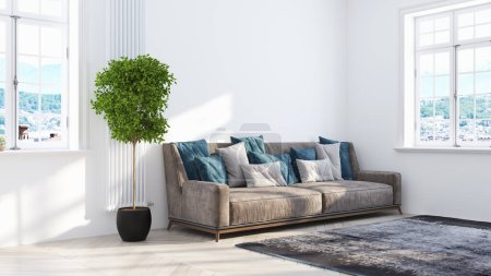 Photo for Beautiful modern living room interior on white background. 3D rendering - Royalty Free Image