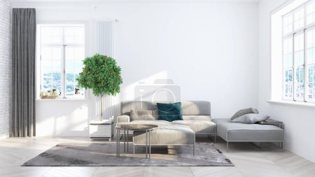 Photo for Beautiful modern living room interior with sofa. 3D rendering - Royalty Free Image