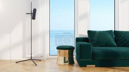 Photo pour Beau salon moderne intérieur avec canapé. rendu 3D - image libre de droit