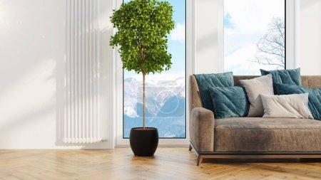 Photo pour Bel intérieur de salon moderne avec canapé. rendu 3D - image libre de droit