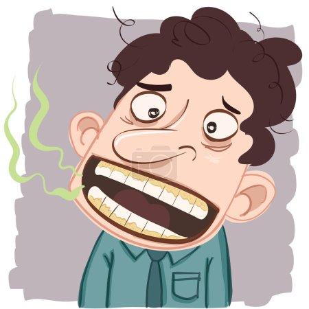 Illustration pour Homme de bande dessinée avec mauvaise haleine . - image libre de droit