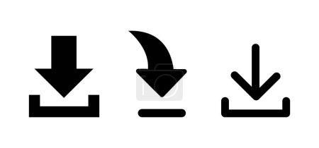 Set von Downloadsymbolen. Pfeilzeichen. Taubenschlag-Symbol.