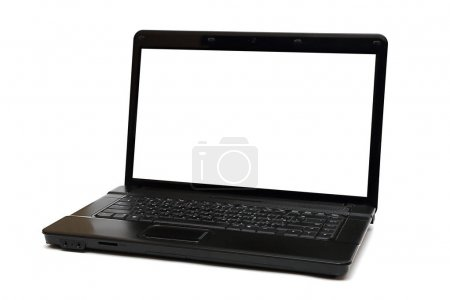 Black laptop on white background