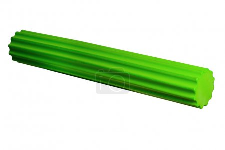 Foam Roller Gym Fitness Equipment green Isolated on White Backgr