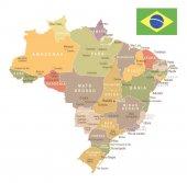Brazil - vintage map and flag - illustration