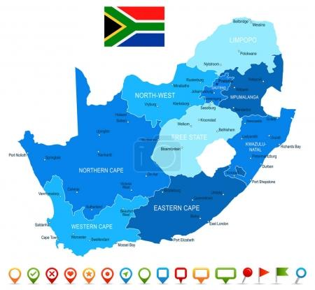 South Africa map and flag - highly detailed vector...