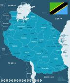Tanzania - map and flag illustration