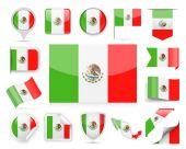 Mexico Flag Vector Set