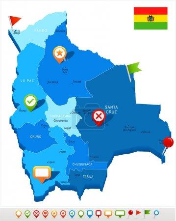 Illustration pour Bolivie carte et drapeau - Illustration vectorielle détaillée élevée - image libre de droit