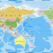 World Map Outline Contour Silhouette - Asia in Cen...