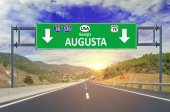 US city Augusta road sign on highway