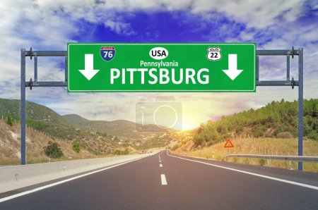 US city Pittsburg road sign on highway