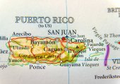 Geographic map of Puerto Rico with capital San Juan, a United States territory in the northeastern Caribbean, with important cities