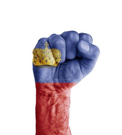 Flag of Liechtenstein painted on human fist like victory symbol