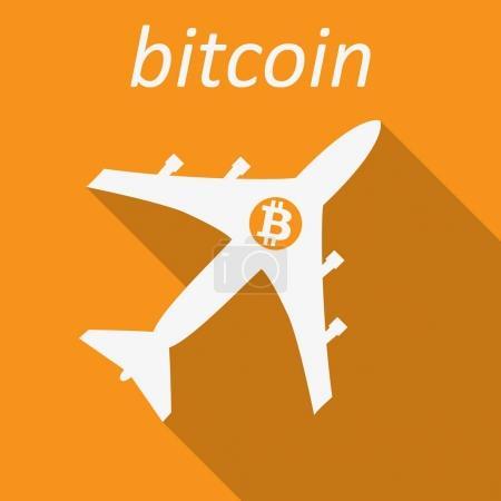 Bitcoin Cripto currency blockchain. Bitcoin flat logo on orange background. Bitcoin on a plane
