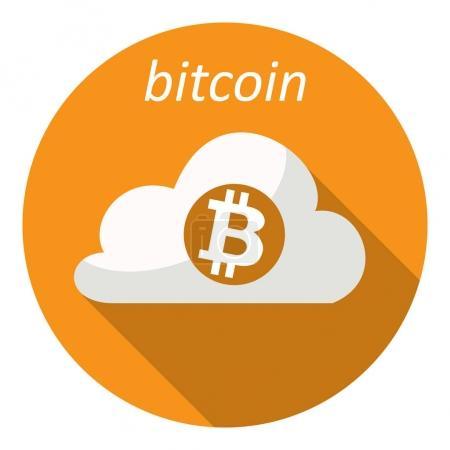 Cloud witn bitcoin logo for web