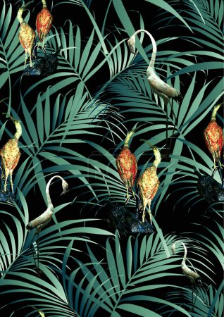 Birds and tropical leaves pattern