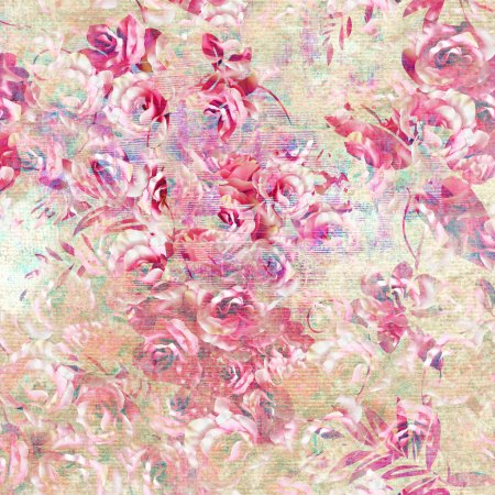 Photo for Rose pattern, seamless floral pattern. - Royalty Free Image