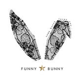 Bunny ears with floral lace pattern vector illustration