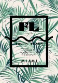 Palm leaves with Miami word poster