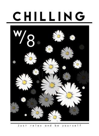 Daisy flowers print with slogan, inscription
