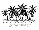 Palm trees with Los Angeles beach text for t-shirt graphic vector illustration