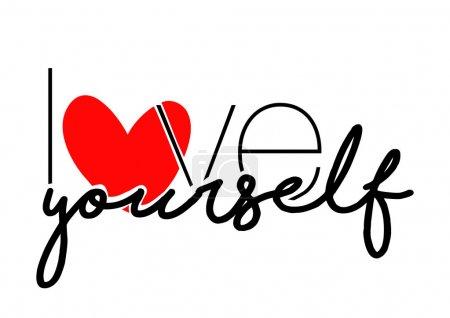 Love yourself slogan on white. vector illustration...