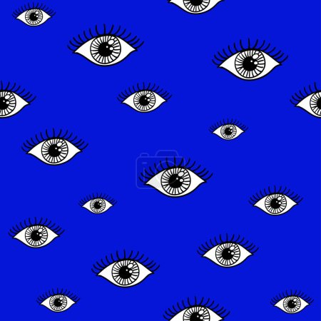 Illustration for Eyes pattern, open eyes on blue background in vector. - Royalty Free Image
