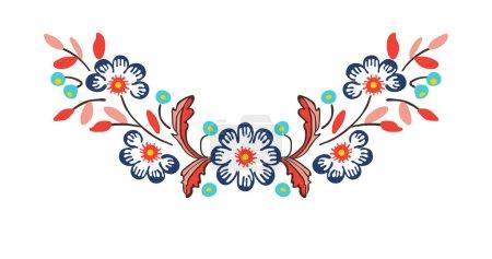 Illustration pour Broderie d'ornement de cou floral. illustration vectorielle - image libre de droit
