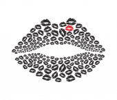 Lips kiss stylish symbol with lips pattern