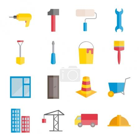Set of vector flat construction and building icons