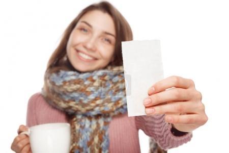 Female showing medicament prescription