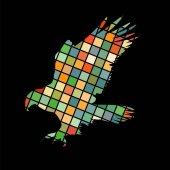 Hawk eagle falcon bird mosaic color silhouette animal background