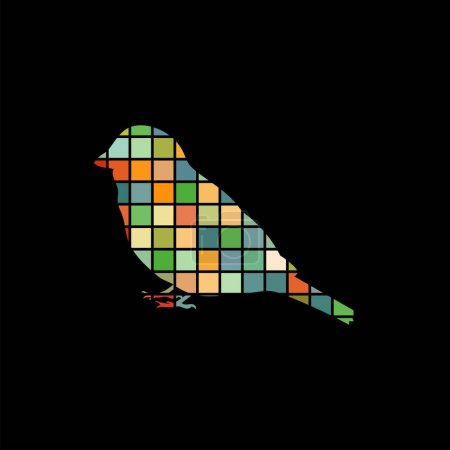 Sparrow bird mosaic color silhouette animal background black