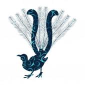 Lyrebird bird spiral pattern color silhouette animal