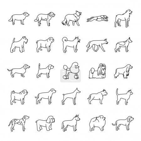 Dogs outlines vector icons