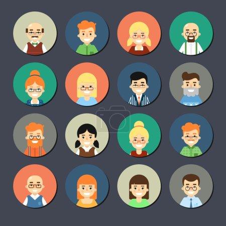 Illustration pour Divers visages de dessins animés souriants, des icônes rondes ensemble. Groupe de mignons gens d'affaires heureux et diversifiés, illustrations vectorielles isolées sur fond gris. Collection Avatars en design plat - image libre de droit
