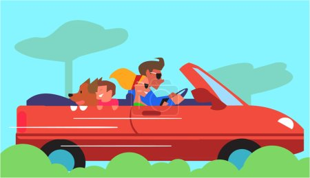 Family Car Traveling Flat Design Vector Concept