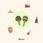 Attractive Mexico Maracas colored doodle surrounded guitar bottle of tequila folk flute sombrero poncho hand drawn vector icons Mexican cultural music symbols Travel in Latin America