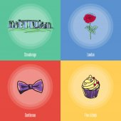 British cultural political fashion historical symbols Stonehenge rose flower sweet cake bow tie doodle vector icons with caption on colored backgrounds Country concept for travel company ad