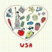 USA Symbols Pen Drawn Doodles Vector Collection