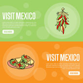 Visit Mexico banners Bunch of chilli peppers burritos hand drawn vector illustrations on national colors backgrounds Web templates with country related symbols For travel company web page design